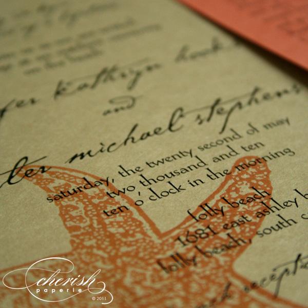 orange green and blue wedding invitation
