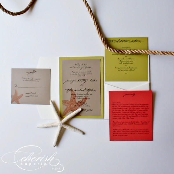 orange and green wedding stationery