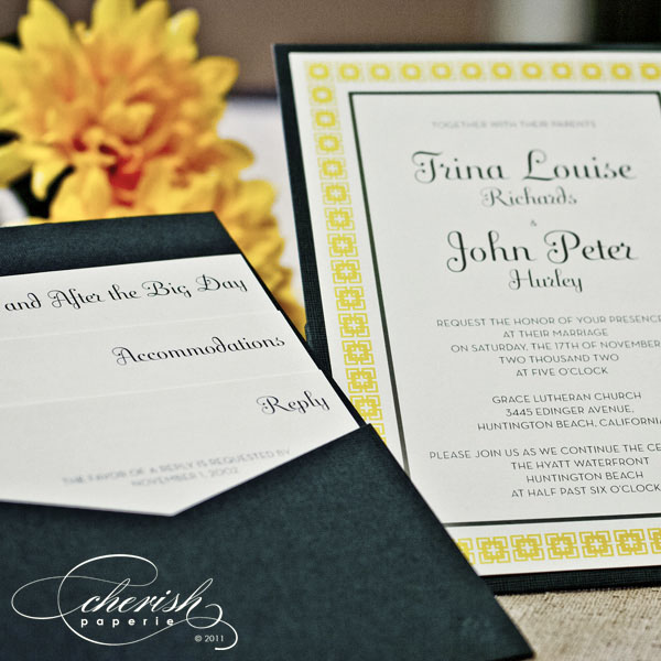Yellow and grey wedding invitations