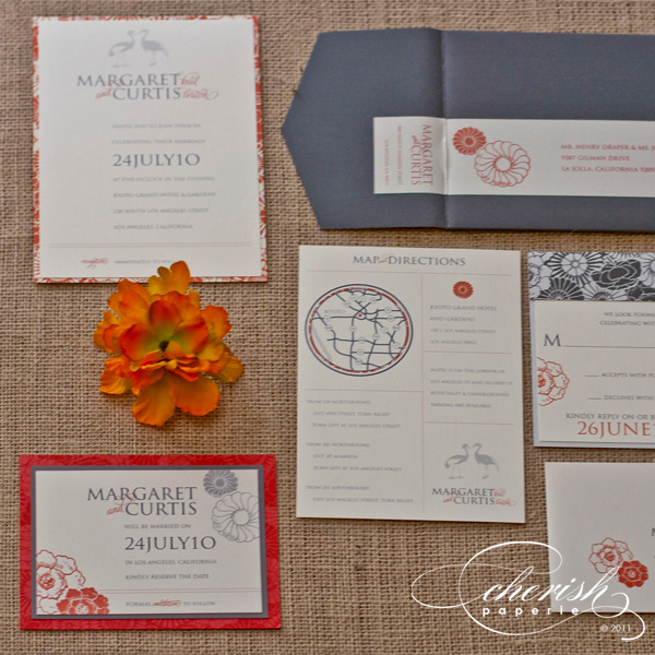 Orange and grey wedding invitations