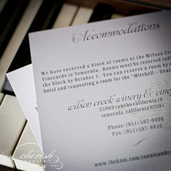 teal and grey wedding invitation accomadations card