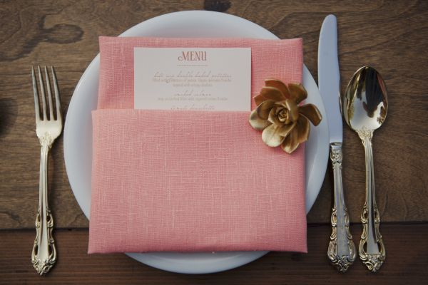 Vintage Peach Wedding Menu