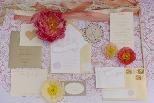 Vintage Peach Wedding Stationery