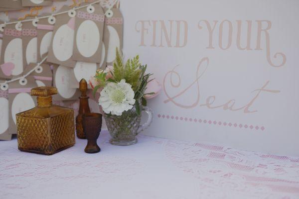 Vintage Peach Wedding escort cards sign