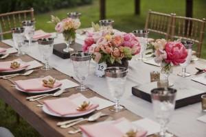 Vintage Peach Wedding table settings