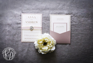 Buckle Boutique faded rose wedding invitation