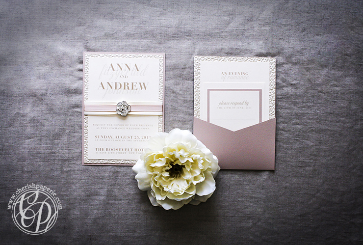Buckle Boutique faded rose wedding invitation