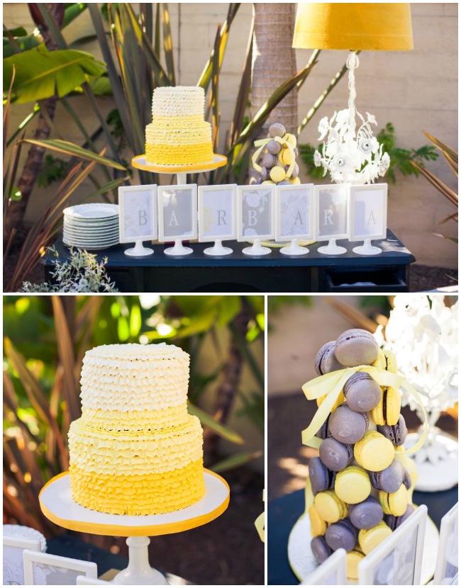Vintage Grey and Yellow Wedding Shower cake table - Cherish Paperie