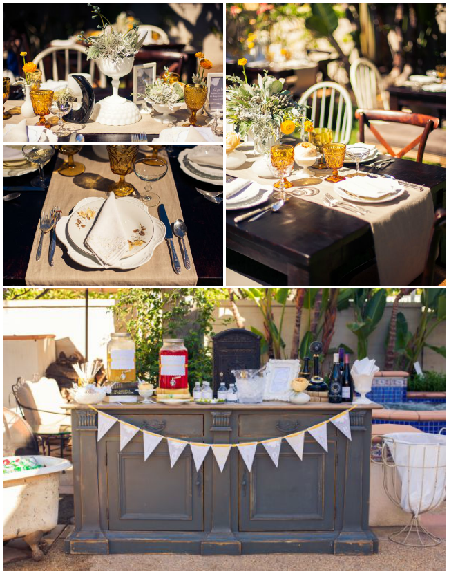 Vintage Grey and Yellow Wedding Shower food and plating