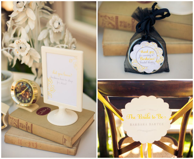 Vintage Grey and Yellow Wedding Shower stationery details