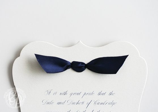Royal Baby Announcement bow © 2013 Custom Programs, LLC dba Cherish Paperie