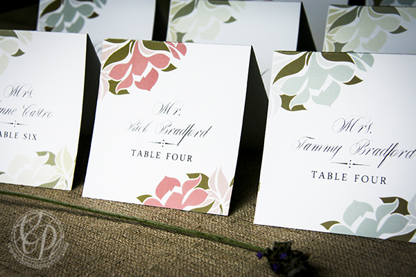 placecards, cherish paperie, floral placecards, hexagons, hexagon stationery