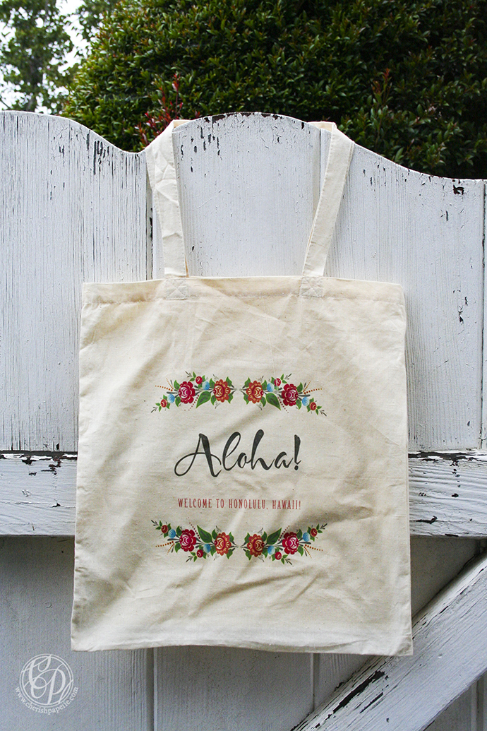 aloha, aloha bohemian wedding suite, bag, fan, menu, place card, ecru, flowers, brown, bohemian, wedding, destination wedding, tote bag