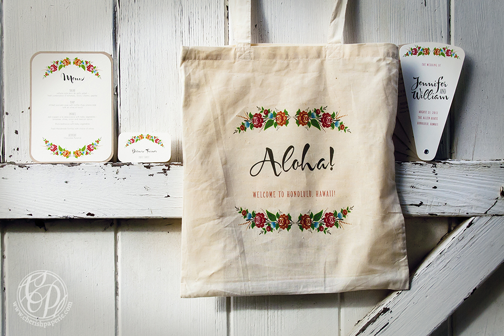 """aloha, aloha bohemian wedding suite, wordless wednesday, bag, fan, menu, place card, ecru, flowers, brown, bohemian, wedding, destination wedding, tote bag """