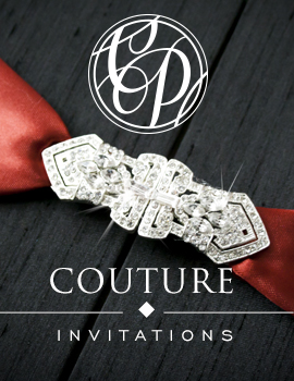 Cherish Paperie Couture Collection, Silk Box Invitations, Rhinestone Invitations