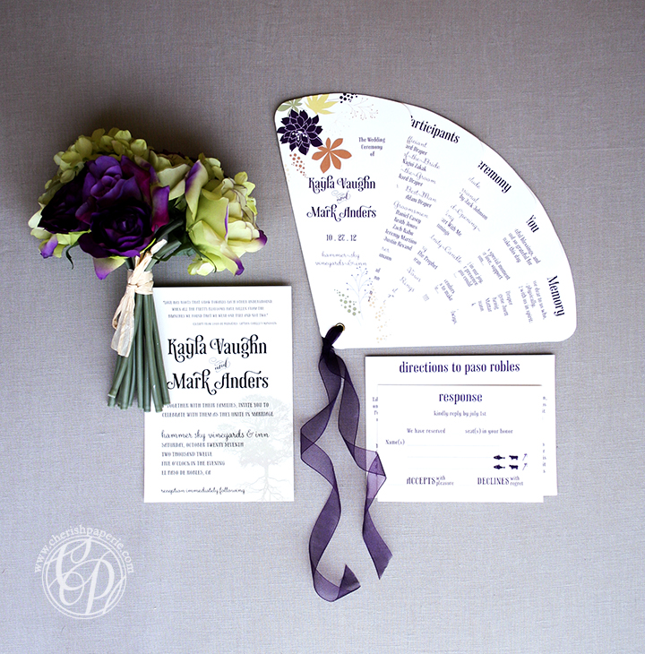 paso robles; destination wedding; vineyard wedding; paso robles weddings; central coast wedding; destination I do; purple and green wedding; autumn wedding; fan program; rustic wedding