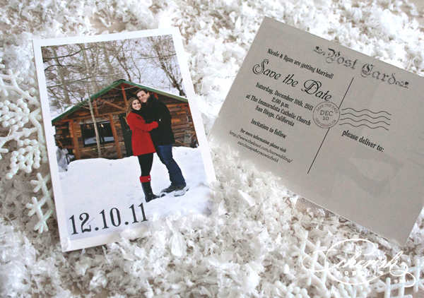 save the date; holidays; snow; snowflake; winter weddings; engagement announcement