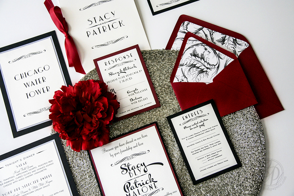 Cherish Paperie, Hollywood Glam, vintage wedding, twenties wedding inspiration, twenties, roarin twenties, chicago, black and white, red