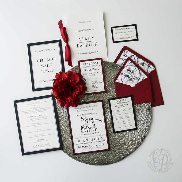 Cherish Paperie, Hollywood Glam, vintage wedding, twenties wedding, twenties, roarin twenties, chicago, black and white, red