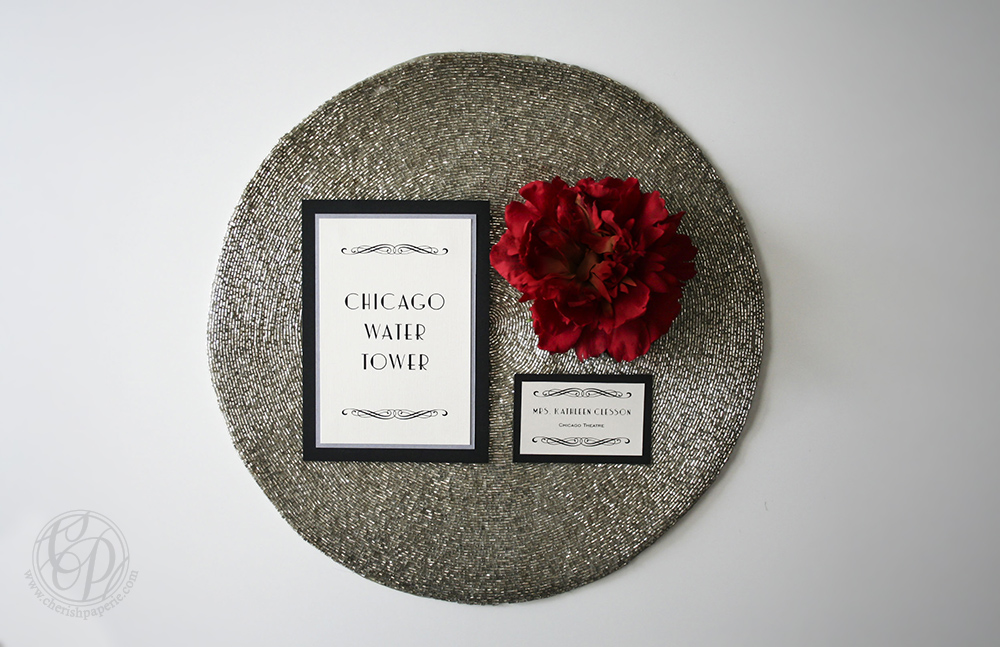 Cherish Paperie, Hollywood Glam, vintage wedding, twenties wedding inspiration, twenties, roarin twenties, chicago, black and white, red